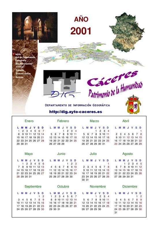 Calendario 2001.Calendario 2001